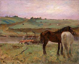 Degas | Horses in a Meadow | Giclée Canvas Print