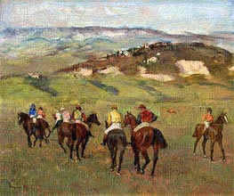 Degas | Jockeys on Horseback before Distant Hills, 1884 | Giclée Canvas Print