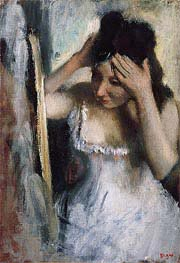 Degas | Woman Combing Her Hair Before a Mirror, c.1877 | Giclée Canvas Print