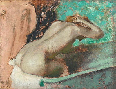 Woman Seated on a Bathtub Sponging Her Neck, c.1880/95 | Degas | Painting Reproduction