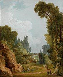 The Rustic Bridge, Chateau de Mereville, France, c.1785 by Hubert Robert | Giclée Canvas Print