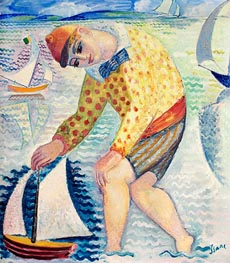 Isaac Grünewald | Boy with Sailing Boat, 1918 | Giclée Canvas Print