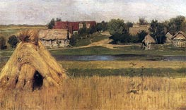 Isaac Levitan | Stacks and Village behind the River, c.1880/83 | Giclée Canvas Print