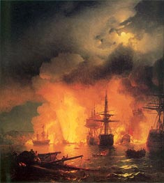 Aivazovsky | The Battle of Chesma, 25-26 June 1770, 1848 by | Giclée Canvas Print