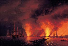 Aivazovsky | The Battle of Sinop, 18 November 1853 (The Night after the Battle) | Giclée Canvas Print
