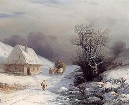 Aivazovsky | Little-Russian Ox Cart in Winter | Giclée Canvas Print