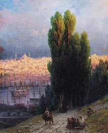 Aivazovsky | Constantinople, View of the Golden Horn with a Self-Portrait of the Artist Sketching | Giclée Canvas Print
