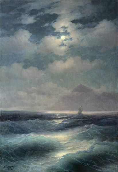 View of the Sea by Moonlight, 1878 | Aivazovsky | Painting Reproduction