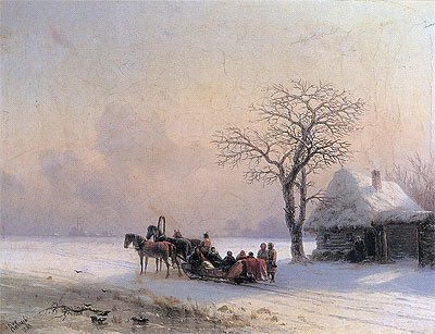 Winter Scene in Little-Russia, 1868 | Aivazovsky | Painting Reproduction