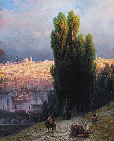 Constantinople, View of the Golden Horn with a Self-Portrait of the Artist Sketching, 1880 | Aivazovsky | Painting Reproduction