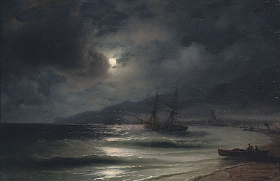 On the Coast at Night, 1875   Aivazovsky   Painting Reproduction