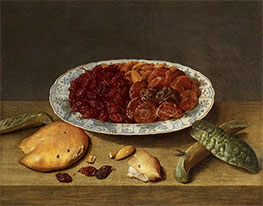 Still Life with Raisins, Apricots and Plums in a Porcelain Dish, 1620s by Jacob van Hulsdonck   Giclée Canvas Print