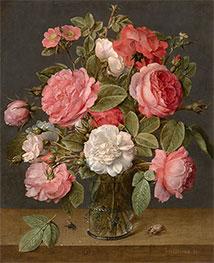 Roses in a Glass Vase, c.1640/45 by Jacob van Hulsdonck   Giclée Canvas Print