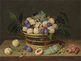 Peaches, Plums and Grapes in a Basket, Undated by Jacob van Hulsdonck   Giclée Canvas Print