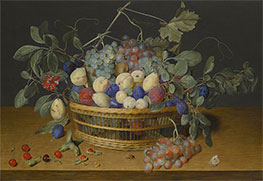 Still Life with Plums, Grapes and Peaches in a Wicker Basket, Undated by Jacob van Hulsdonck   Giclée Canvas Print