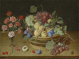 A Still Life with a Vase of Carnations and a Basket of Fruits, Undated by Jacob van Hulsdonck   Giclée Canvas Print