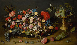 An Elaborate Basket of Flowers and a Tazza with Grapes, Undated by Jacob van Hulsdonck   Giclée Canvas Print
