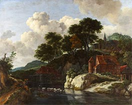 Hilly Landscape with a Watermill, c.1670 by Ruisdael | Giclée Canvas Print