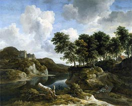 River Landscape with a Castle on a High Cliff, c.1670 by Ruisdael | Giclée Canvas Print