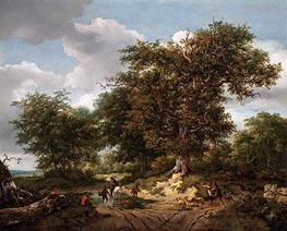 The Great Oak, 1652 by Ruisdael | Giclée Canvas Print