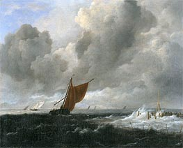Ruisdael | Stormy Sea with Sailing Vessels | Giclée Canvas Print