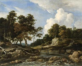 Ruisdael | A Wooded River Landscape with a Bridge, undated | Giclée Canvas Print