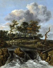 Ruisdael | A River Landscape with a Waterfall, undated | Giclée Canvas Print
