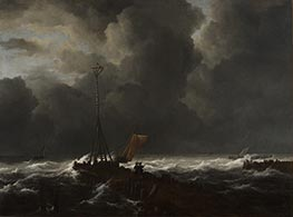 Rough Sea at a Jetty, 1650s by Ruisdael   Giclée Canvas Print
