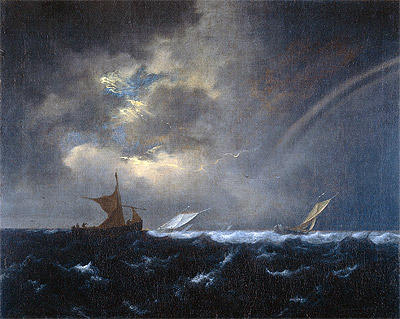 Ship in Rough Sea, 1655 | Ruisdael | Painting Reproduction