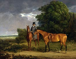 A Groom Mounted on a Chestnut Hunter, He Holds a Bay Hunter by the Reins, undated by Jacques-Laurent Agasse   Giclée Canvas Print