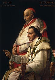 Jacques-Louis David | Portrait of Pope Pius VII and Cardinal Caprara | Giclée Canvas Print