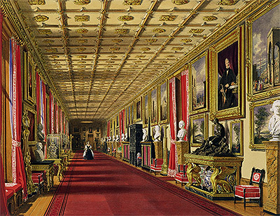 South Corridor, Windsor Castle, 1838 | James Baker Pyne | Painting Reproduction