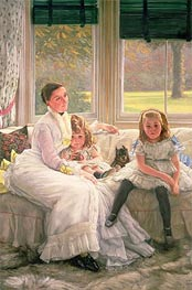 Joseph Tissot | Portrait of Mrs Catherine Smith Gill and Two of Her Children, 1877 | Giclée Canvas Print