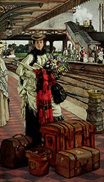 Joseph Tissot | Waiting at the Station, 1874 | Giclée Canvas Print