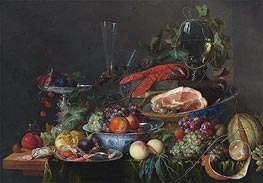 Still Life with Ham, Lobster and Fruit, c.1653 by de Heem | Giclée Canvas Print