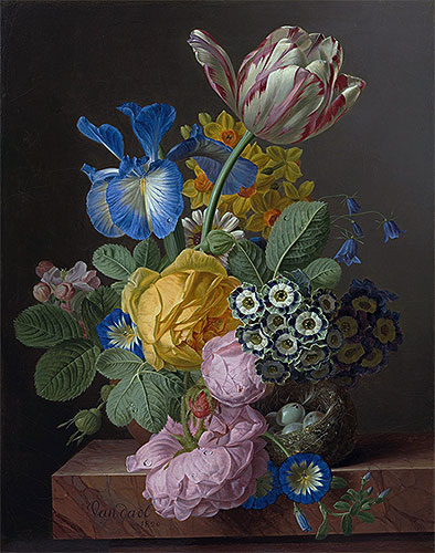 A Vase of Flowers with a Bird's Nest on a Marble Ledge, 1820   van Dael   Painting Reproduction