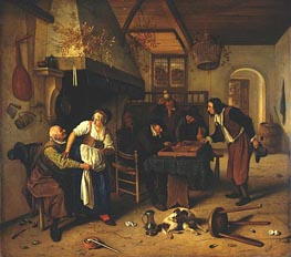 Jan Steen | Interior of Inn with Old Man, Landlady and Two Men, c.1636/79 | Giclée Canvas Print