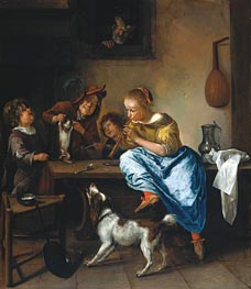 Jan Steen | Children Teaching a Cat to Dance (Dancing Lesson), c.1665/68 | Giclée Canvas Print