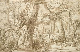 Jan Lievens | Forest Interior with Draftsman, c.1664 | Giclée Paper Print