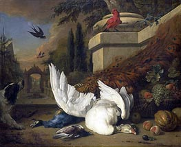 Jan Weenix | A Dog at a Dead Goose and a Peacock, c.1660/19 | Giclée Canvas Print