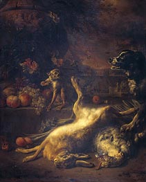 Jan Weenix | A Monkey and a Dog at Dead Game and Fruit, 1704 | Giclée Canvas Print