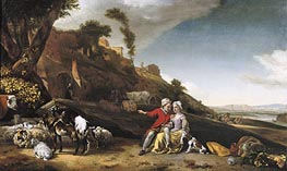Jan Weenix | A Young Couple with Goats and Sheep in an Italianate Landscape, 1662 | Giclée Canvas Print