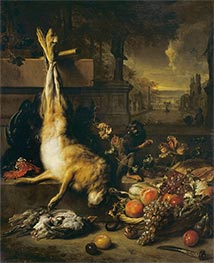 Dead Hare, Fruit and Monkey, 1704 by Jan Weenix | Giclée Canvas Print