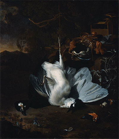 Dead Birds and Hunting Equipment in a Landscape, undated | Jan Weenix | Painting Reproduction