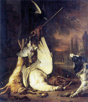 Dead Game and Springer Spaniel, c.1710/15 | Jan Weenix | Painting Reproduction