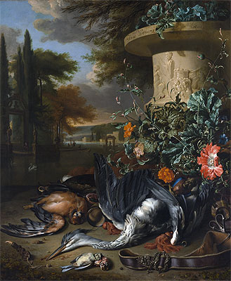 Falconer's Bag (Gamepiece with a Dead Heron), 1695 | Jan Weenix | Painting Reproduction