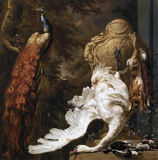 Peacock and Hunting Trophies, 1708 | Jan Weenix | Painting Reproduction