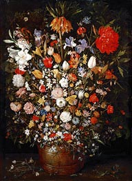 Jan Bruegel the Elder | Flowers in a Wooden Vessel, c.1606/07 | Giclée Canvas Print