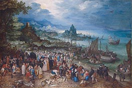 Jan Bruegel the Elder | Harbour Scene with Christ preaching, 1598 | Giclée Canvas Print