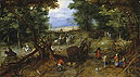 Bruegel the Elder - A Woodland Road with Travelers - Art Print / Posters